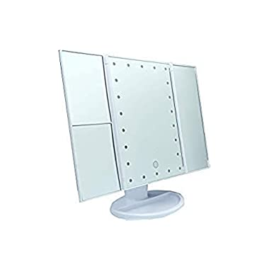 EnBloom Makeup Mirror- 21 LED Lighted 3x/2x Magnifying Trifold Travel Vanity Mirror, Small, Portable, Compact, Battery/USB powered, Touch Screen,180 Degree Rotation, Countertop Cosmetic Mirror (White)