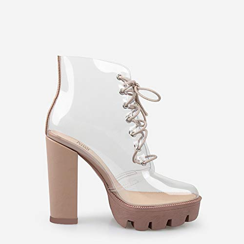 New Summer Peep Toe Ankle Sandals Boots Transparent Cross-Tied Crystal Square Heels Women's 12cm high Heels Shoes Woman (11M 41, Beige) ()