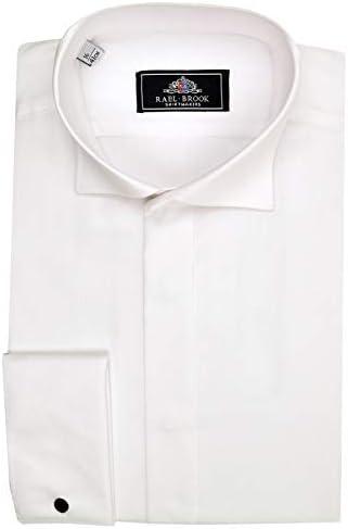 Rael Brook Hombre Formal Swept Cuello de Pajarita Puño Doble Camisa en Blanco: Amazon.es: Ropa y accesorios