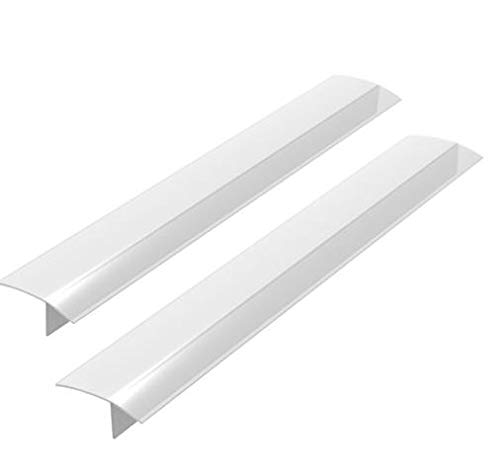 2 Pack Standard 25 Inch Kitchen Stove Gap Filler Cover - Premium Silicone Spill Guard for Stovetop, Counter, Oven, Washer, Dryer, Washing Machine and More, Translucent White, by ITEMporia