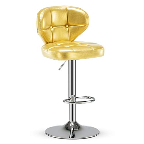 A-Fort Bar Kitchen Breakfast Stool, Back Support, Chrome-Plated Base, Swivel Adjustment (63-83cm) (Color : Yellow)