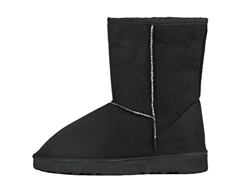 Passionow Women's Classic Warm Faux Fur Lined Round Toe Slip-Ons Mid Claf Flat Snow Boots