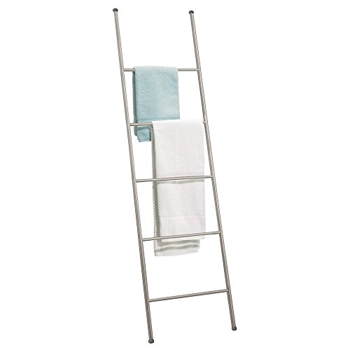 mDesign Free Standing Bath Towel Bar Storage Ladder - 5 Rungs, Satin (Shelf Ladder With Towel)