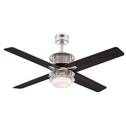 Westinghouse Lighting 7221100 Oscar Ceiling Fan with Light and Remote Control, 48 Inch, Brushed Nickel Westinghouse Lighting