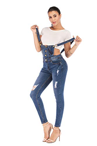 (Women's Classic Denim Bib Strap Ripped Slim Fitted Overalls with Comfort Stretch (X-Large, Blue2))