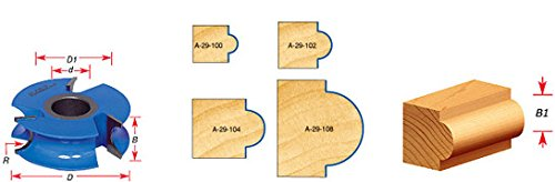 Amana Tool A-29-106 Carbide Tipped 3-Wing Heavy-Duty Bead 3/8 R x 4 D x 13/16 CH x 3/4 Bead CH x 1-1/4 Bore Shaper Cutter by Amana (Image #1)