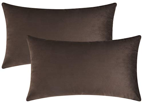 Mixhug Set of 2 Cozy Velvet Rectangle Decorative Throw Pillow Covers for Couch and Bed, Coffee Brown, 12 x 20 Inches