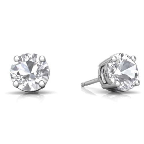 Created White Sapphire Round Stud Earrings 14Kt White Gold & Sterling Silver