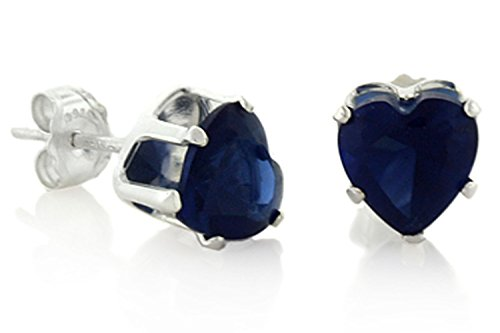 Navy Blue Simulated Sapphire Cz Heart Shaped Studs Sterling Silver Earrings 6mm 1ctw