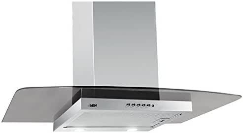 HBH – Campana extractora de cocina inoxidable y cristal 60 cm 650 M3/H extensible chimenea de pared: Amazon.es: Hogar