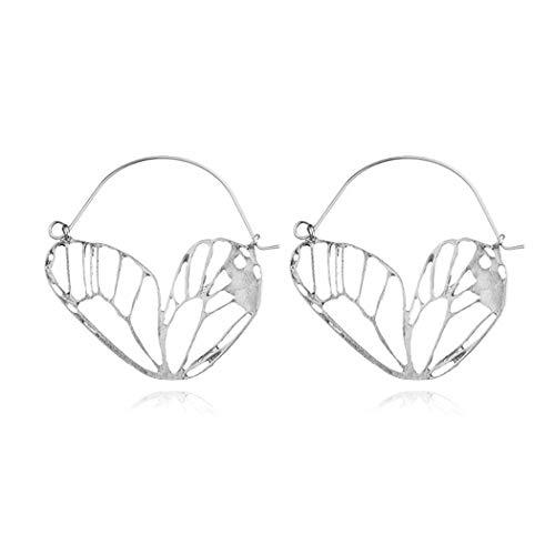Zronji Women Fashion Party Casual Geometric Hollow Silver Bohemia Hoop Earrings Hoop