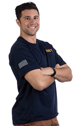 Navy Pocket Tee & U.S. Sleeve Flag | Military Naval Veteran Sailor Men T-Shirt-(Pocket,L)