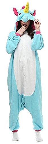 [Eaguem Adult Unisex Animal Kigurumi Cosplay Costume Pajamas Onesies,Blue Unicorn (M(160-168cm))] (Adult Minecraft Costumes)