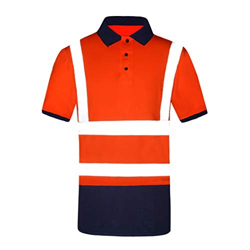 Moisture Wicking Hi Vis Polos Safety Short Sleeve Shirt for Outsports Orange XL (Hi Vis Polo Shirts With Reflective Tape)