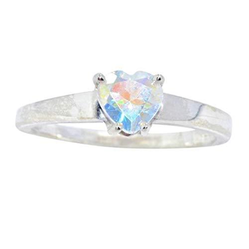 (Elizabeth Jewelry Natural Mercury Mist Mystic Topaz Heart Ring .925 Sterling Silver Rhodium Finish )