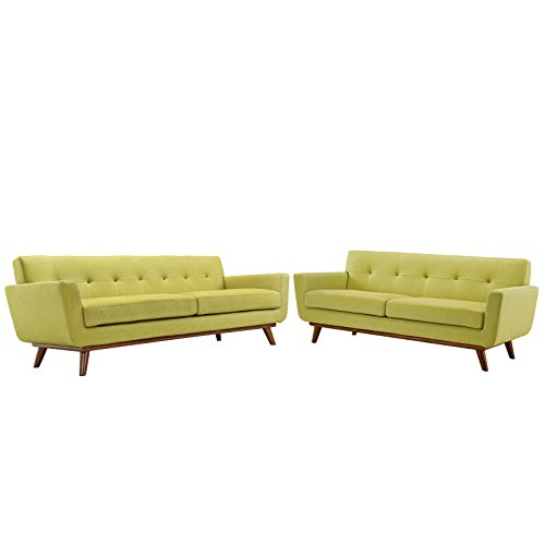 Modway Engage Mid-Century Modern Upholstered Loveseat and Sofa in Wheat, Set of 2