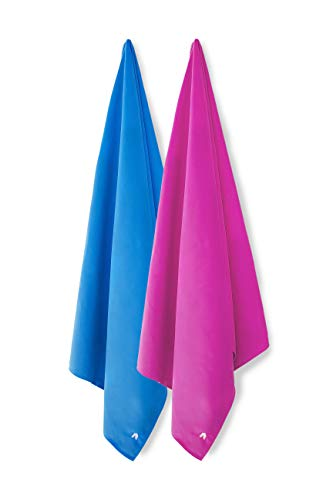 Cabana Beach Towels - 2 Pack (Solid Caribbean Blue & Solid Bahamian Pink) The Original Sand Free Microfiber Beach, Pool & Travel Towel. Extra Large & Quick Dry