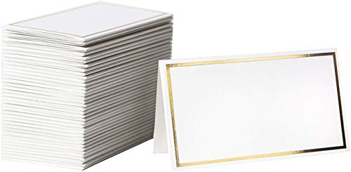 Table Cards For Weddings (Place Cards - 125 Elegant Name Cards with Gold Foil Borders - Perfect For Wedding, Business Events -Table Name Cards, Table Tent Cards, Seating Cards, Wedding Name Cards - 2)