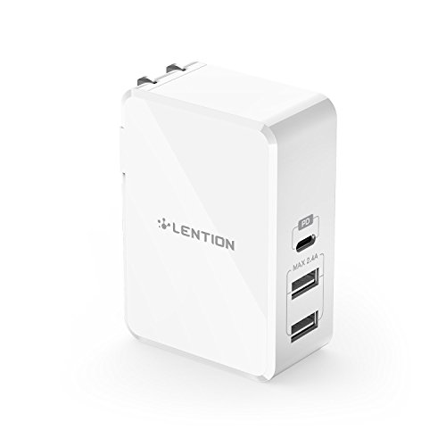 LENTION 45W USB-C Power Delivery Wall Charger with Fast Charge PD Adapter for iPhone Xs/Max/XR/X/8/Plus, iPad Pro, MacBook Air/Pro (Thunderbolt 3), Nintendo Switch, Samsung S9/S8/Note 9, More (White)