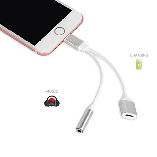 Apple iPhone Adapter Earphones & Splitter, Rockxdays[Sliver]2 in1 Dual Lightning to 3.5mm Headphone...