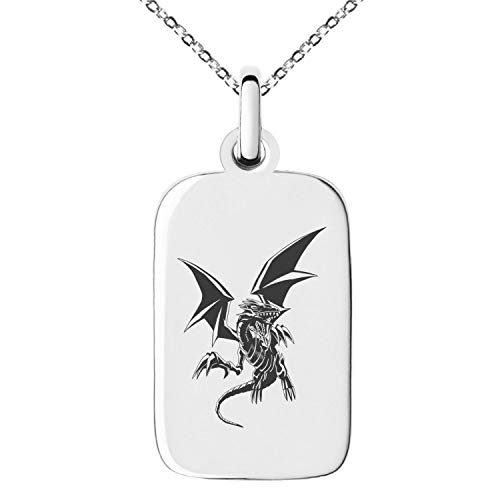 Tioneer Yu-Gi-Oh! Blue-Eyes White Dragon Full Body Stainless Steel Small Rectangle Dog Tag Charm Pendant Necklace