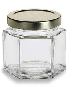 4 oz Hexagon Glass Jar with Gold Lids (12 Pack) by Packaging For You
