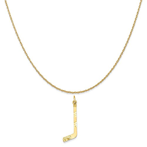 Mireval 14k Yellow Gold Hockey Stick Charm on a 14K Yellow Gold Rope Chain Necklace, 18