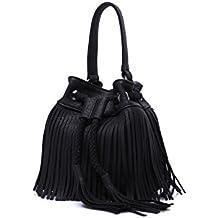 LUI SUI- Women Fringe Tassel Shoulder Bag Leather Drawstring Vintage Handbag Cross-body Bag