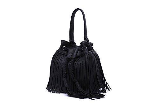 LUI SUI- Women Fringe Tassel Shoulder Bag Leather Drawstring Vintage Handbag Cross-body Bag (Black)