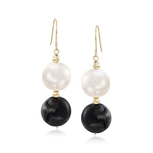 Cultured Pearl Onyx - Ross-Simons 11-11.5mm Cultured Pearl and Black Onyx Bead Drop Earrings in 14kt Yellow Gold
