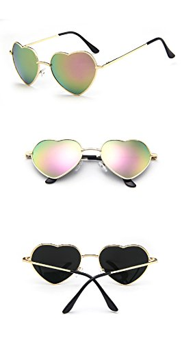 Chezi Women's Metal Colorful Iridium Coated Lens Heart Sunglasses (gold, pink mirror) ()