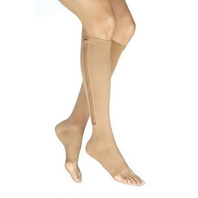 64718fe726 Zippered Medical Compression Socks with Open Toe – Best Support Zipper  Stocking for Varicose Veins, Edema, Swollen or Sore Legs – Foot Feet Knee  Ankle Arch ...