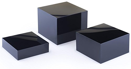Displays2go Acrylic Gloss Stacking Display Cubes Nesting with 1 Large, 1 Medium, 1 Small Stand (Set of 3), Glossy Solid Black