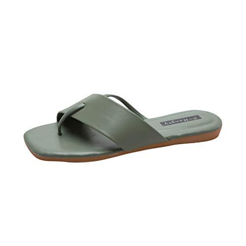 Women Slip On, LIM&Shop  Toe Ring Sandals Summer Flat Thong Shoes Casual Slipper Criss Cross Soft Anti-Skid Flip Flops Green -