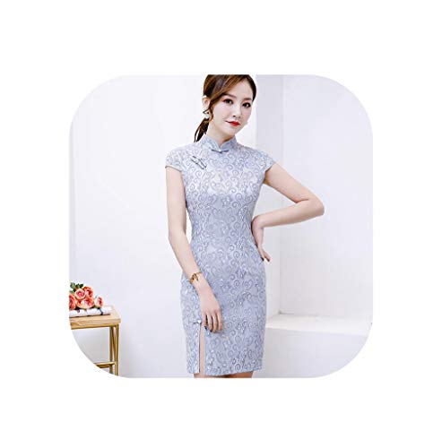 Sexy Mini Cheongsam 2019 Summer Vintage Chinese Style Short Dress Womens Lace Qipao Slim Party Dresses Button,9125,S