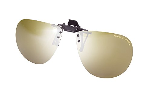 Eagle Eyes Polarized Aviator ClipOns - Flip Up Gold Flash...