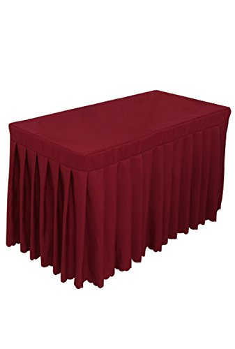 Tina 4' ft Rectangular Pleated Polyester Table Skirt Tablecloth Wine Red (Table Red Wine)