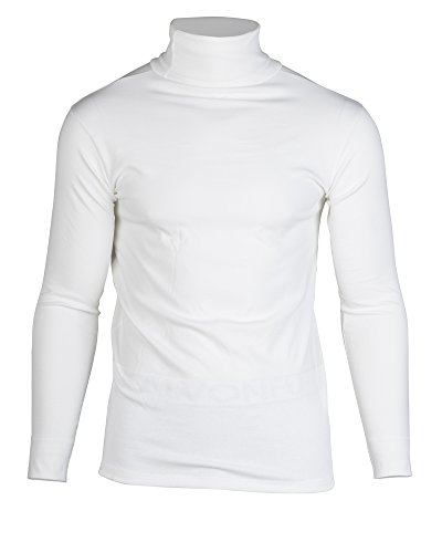 KalvonFu Men's Cotton Long Sleeve Soft Turtleneck Thermal Slim T-Shirt (M, White)