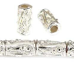 10x5mm Sterling Silver Plated Copper Bead Tube Miligrain Paisley, 4mm ID 8 inch 20 - Beads Silver Copper Plated