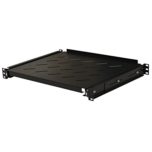 (NavePoint Sliding Rack Vented Server Shelf 1U 19 Inch 4 Post Rack Mount 13.75 Inches (350mm) Deep)