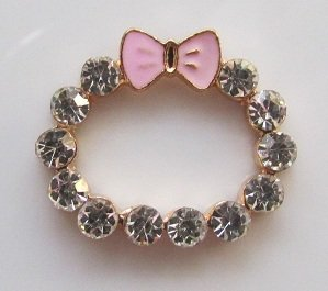 Flatback Rhinestone with Pink Bow Alloy Ring---pixiheart