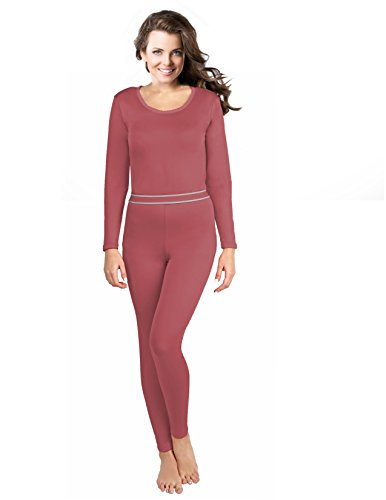 Rocky Women's 2pc Thermal Underwear, Top & Bottom Fleece Lined Long Johns (Small, Mauve Pink) ()