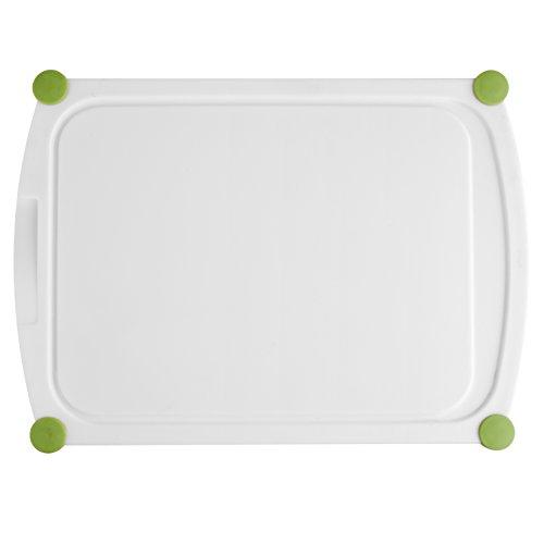 Emsa 514453 Schneidebrett, Saftrille, Kunststoff, 35 x 25 cm, Weiß/Grün, Perfect Cut