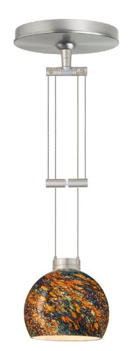 Besa Lighting 1XA-5658CE-SN 1X50W Gy6.35 Palla 5 Pendant with Ceylon Glass, Satin Nickel Finish