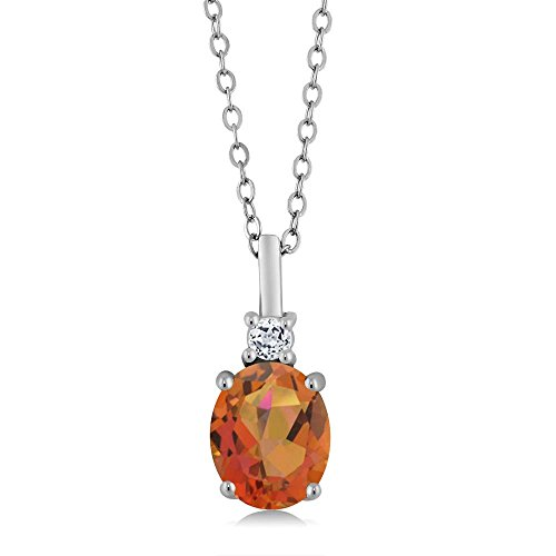 Gem Stone King 2.38 Ct Oval Twilight Orange Mystic Quartz White Topaz 925 Sterling Silver Pendant