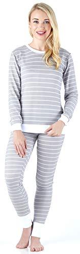 Sleepyheads Women's Sleepwear Long Sleeve Soft & Cozy Striped Knit 2-Piece Pajama Set, Light Grey & White Stripe (SH1138-5021-XL)