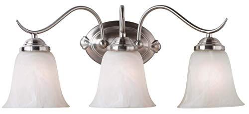 Kenroy Home 90213BS Medusa 3-Light Vanity with Alabaster Glass Shade, Brushed Steel