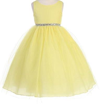 Flower Girl Dress Satin Bodice Overlay Tulle Skirt Rhinestone Belt Easter Dress