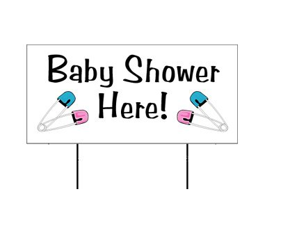 """Baby Shower Baby Announcement 12""""x24"""" Yard Sign"""