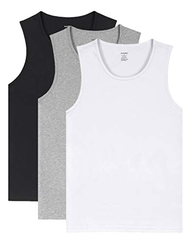 - Indefini Men's Cotton Crew Neck Undershirts Sleeveless Tank Tops Fitted Shirts, 3 Pack - Black, White & Grey - L